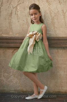 Bateau A-line Knee Length Belt Emerald Taffeta Flower Girl Dress