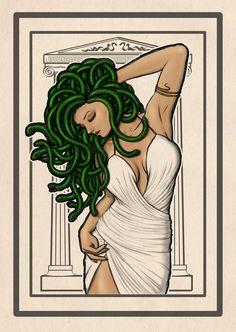 Kallias card by richten Medusa Medusa Drawing, Medusa Art, Medusa Gorgon, Medusa Tattoo, Fantasy Creatures, Mythical Creatures, Arte Alien, Greek Mythology Art, Mystique