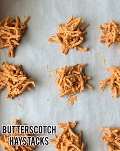 Butterscotch Haystack Cookies, made with chow mein noodles and butterscotch chips, are a true no bake cookie that takes minutes to make, set and eat! Haystacks are perfect to make with kids because they are so easy and are amazingly delicious to eat. Christmas Snacks, Christmas Appetizers, Christmas Candy, Holiday Baking, Christmas Desserts, Holiday Treats, Christmas Baking, Holiday Recipes, Thanksgiving Desserts