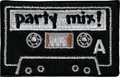 8644321b3d5 43048 Black Party Mix Cassette Tape Audio Music Retro Boombox Sew Iron On  Patch