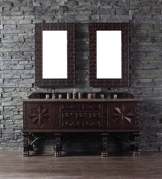"""James Martin 150-V72-ANW-TBR Balmoral 72"""" Antique Walnut Double Vanity with Tropical Brown Stone Top"""