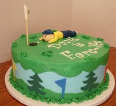 40Th Birthday For A Golfer - CakeCentral.com 40th Birthday, Happy Birthday, Buttercream Icing, Cake Toppers, Fondant, Birthdays, Golf, Cakes, Desserts