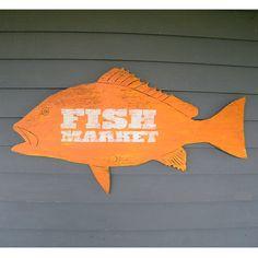 Fish Market Sign Snapper Vintage Inspired Trade Sign Wall Art Beach Coastal Sign