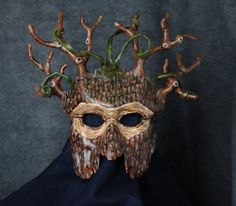 Leather tree mask evoking magic of the woods. By Artistathand on Etsy #Etsy #masks