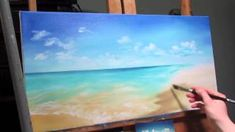 how to paint sandy beach in acrylic - YouTube