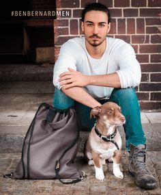 Reversibel bag for men. Wearable as back bag and shopper in two styles. Rough brown leather optic and dark denim or black suede optic. Handmade in Frankfurt, Germany