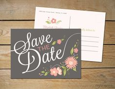 Romantic Floral Save the Date Wedding PostCard by MyCrayons // Rustic Gray and Blush Pink