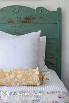 the cottage bed reveal - Miss Mustard Seed Mustard Bedding, White Bedding, Farmhouse Bedroom Furniture, Bedroom Turquoise, Studios, Shabby Chic Bedrooms, Cottage Bedrooms, Milk Paint, Bedroom Bed