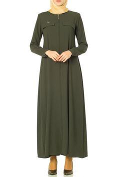 Butikzade - Deniz Ferace DF-1182-09-Haki Black Abaya, Mode Hijab, The Dress, Hijab Fashion, Dresses For Work, Hijabs, Muslim, Casual, Fashion Ideas