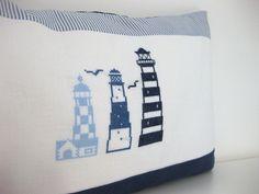 Kissenbezüge - Kissen LEUTTURM Kreuzstich blau weiß - ein Designerstück von ROSA4052 bei DaWanda
