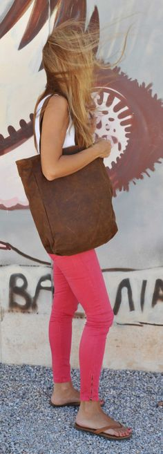 Handmade leather tote bag with striped lining and one by byCACHE, €95.00