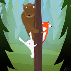 'Did You Hear That?' by Dale Keys. This is adorable! Love the cool colors in the background too. #digitalillustration #woods
