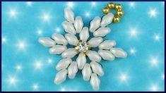 DIY xmas | Perlen Schneeflocken Anhänger | Beaded twin beads snowflake p...