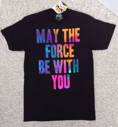 "New$20 STAR WARS""MAY THE FORCE BE WITH YOU""T-SHIRT Black/Pink/Orange Multi-Color #FifthSun #GraphicTee #Everyday"