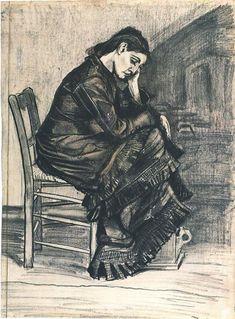 Bent Figure of a Woman (Sien?) by Vincent Van Gogh - 812