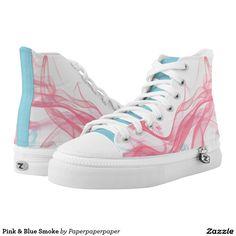 Pink & Blue Smoke Printed High Tops ZIPZ® shoes