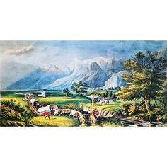 Currier And Ives The Rocky Mountains 1950 Lithograph
