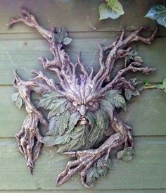This Green Man lives on the side of my shed. I think he is awesome!