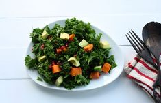 Kale Salad with Roasted Sweet Potato, Avocado, and Pomegranate Seeds Sweet Potato Kale, Sweet Potato And Apple, Roasted Sweet Potatoes, Kale Apple Salad, Kale Salad Recipes, Super Greens, Pomegranate Seeds, Collard Greens