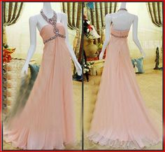 Discount Crystal Pink Chiffon Long Beaded Prom Dresses with Backless 2015 A-Line Halter Beaded Cascading Ruffles Formal/Evening Party Pageant Gowns Online with $103.67/Piece | DHgate