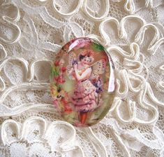 Antique Butterfly Fairy 30X40mm Glitter Unset Handmade Art Bubble Cameo Cabochon #Handmade #Cameo