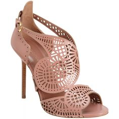 Sergio Rossi Laser Cut Sandal ($349) ❤ liked on Polyvore featuring shoes, sandals, heels, sapatos, zapatos, ankle strap sandals, ankle wrap sandals, open toe high heel sandals, heeled sandals and ankle strap shoes