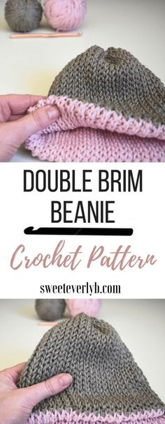 Crochet Patterns Beanie A Knit-Look Double Brim Crochet Beanie Pattern Crochet Double, Crochet Baby, Free Crochet, Free Knitting, Knitting Patterns, Crochet Patterns, Easy Crochet Projects, Crochet Crafts, Crochet Ideas