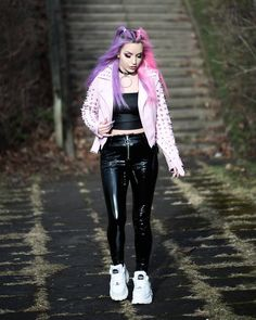 Punk Outfits, Sexy Outfits, Buffalo Shoes, Killstar Clothing, Rocker Style, Spice Girls, Platform Sneakers, Plein Air, Purple Hair