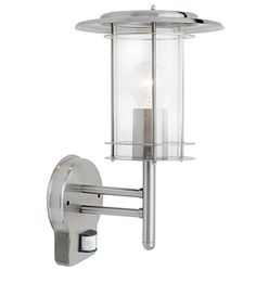 Endon 'York PIR' IP44 1 Light Outdoor Wall Light, Polished Stainless Steel & Clear Glass - 4479782 None