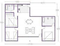 Plano de casa de un piso con tres dormitorios casa for Casa minimalista 90m2