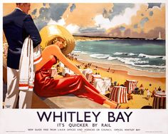 Vintage travel poster produced in 1939 by London North Eastern Railway LNER to promote rail services to Whitley Bay Tyne and Wear Illustrated is a Poster Vintage, Vintage Travel Posters, Retro Posters, Posters Uk, Vintage Ads, Vintage Style, Warkworth Castle, Railway Posters, British Rail