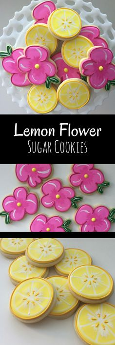 Spring Cookies, Lemon Cookies, Flower Cookies, Mother's Day, Party Favors, Treat Bags, Shower Cookies, Birthday Cookies, Spring Luncheon #affilitate