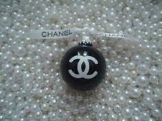 CHANEL INSPIRED GLASS CHRISTMAS TREE ORNAMENT SHINY BLACK CHANEL RIBBON SMALL