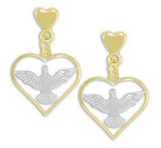 Brinco do Divino Espírito Santo folheado a ouro c/ aplique de prata Código: BS2435