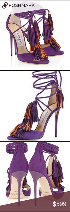Jimmy Choo Mindy in lux purple suede Model: Jimmy Choo Mindy Material: suede leather Size: 35.5 (US size 5.5-6) Details: purple and orange tassels, adjustable ballerina ties  Comfort level: very comfortable  Occasion: perfect for holiday parties!  Retail: $975+tax Condition: new without box Jimmy Choo Shoes Heels #jimmychooheelspurple