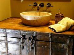 Repurposed steamer trunk bathroom vanity