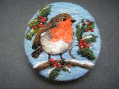Handmade needle felted brooch/Gift 'Little Robin Redbreast' by Tracey Dunn in Crafts, Hand-Crafted Items | eBay