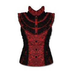 Jawbreaker Red Black Brocade Damask Lace Goth Steampunk VTG Victorian... ($29) ❤ liked on Polyvore featuring tops, red top, lacy tops, victorian top, red lace shirt and steampunk shirt