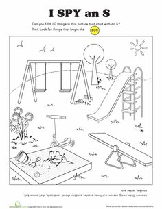"""Worksheets: I Spy Letter S: To review letters, mark all the things that begin with the """"s"""" sound. Name them to your teacher when she sees this paper with you. MamaPat"""