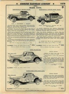 1935 Advert Marx Toy Cars Coal Truck Spring Motor Police Fire Friction Siren | eBay