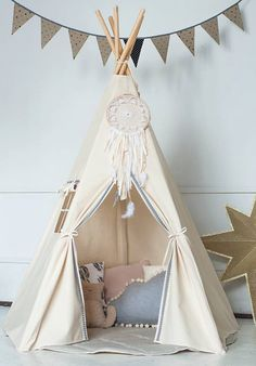 Large Unbleached Canvas Original Teepee Kids Teepee with Grey Pom Poms Indian Play Tent House Children Tipi Tee Pee Tent Kids Tents, Teepee Kids, Childrens Teepee, Indian Teepee, Teepee Play Tent, Play Houses, Kids Furniture, Girl Room, Child's Room