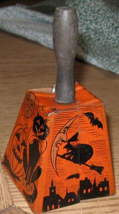 Vintage Halloween Noisemaker ~ Metal Bell Noisemaker with Wood Handle. Witch, moon, black cat, Jack O' Lantern