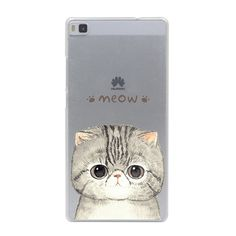 Cute Cat with Glasses Hard Case for Huawei P9 P8 Lite P9 Plus P7 P6 G7 & Honor 4C 4X 7 6