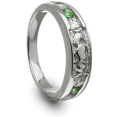 Ladies Silver Claddagh Ring with CZ Stones Claddaghrings.com