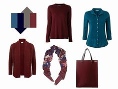 5-Piece French Wardrobe in burgundy maroon wine and teal blue >> only substitute grey with camel