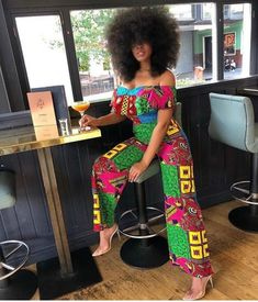 african fashion Look EXOTIC in our Bestselling Jumpsuit! The Off-shoulder sleeves and flared bottoms make this jumpsuit super classy and comfy. African Print Jumpsuit, Ankara Jumpsuit, African Print Dresses, African Print Fashion, Africa Fashion, African Fashion Dresses, African Dress, Fashion Outfits, Ankara Fashion