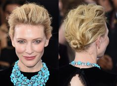 Cate Blanchett from E! Style Collective's Best Hair at the 2015 Oscars  The actress really shows how versatile a shorter haircut can be. Her slightly tousled bun is so working for her.