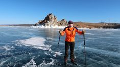 The ice can be as thick as meters on Lake Baikal. Lake Baikal, Places To Travel, Mount Everest, Skiing, Mountains, Nature, Ski, Naturaleza, Destinations