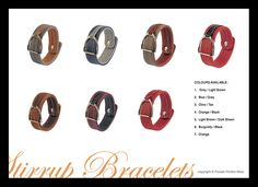 Leather bracelets with stirrups by PARADE PERFECT WEAR Leather Bracelets, Equestrian, Dark Brown, Blue Grey, Burgundy, Colours, How To Wear, Black, Black People