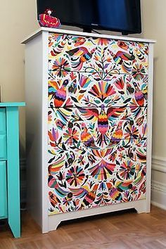 Hand-Painted Otomí Mexican-Style Dresser, I love this! Decor, Hand Painted, Redo Furniture, Painted Furniture, Mexican Decor, Boho Decor, Cheap Home Decor, Furniture Makeover, Stencil Furniture
